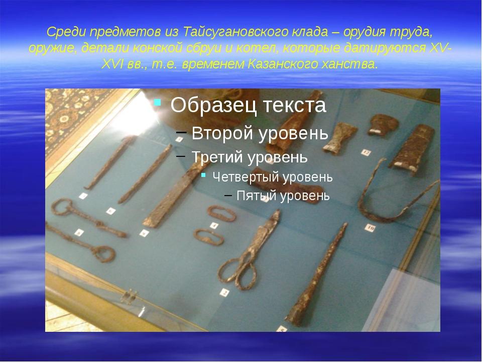 Среди предметов из Тайсугановского клада – орудия труда, оружие, детали конск...