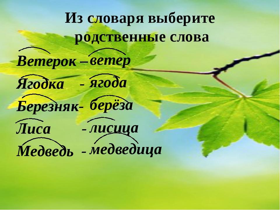 Из словаря выберите родственные слова Ветерок – Ягодка - Березняк- Лиса - Мед...