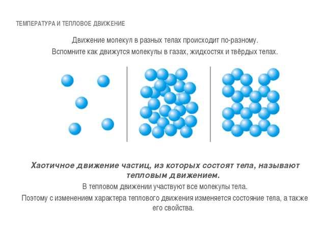 ТЕМПЕРАТУРА И ТЕПЛОВОЕ ДВИЖЕНИЕ Движение молекул в разных телах происходит по...