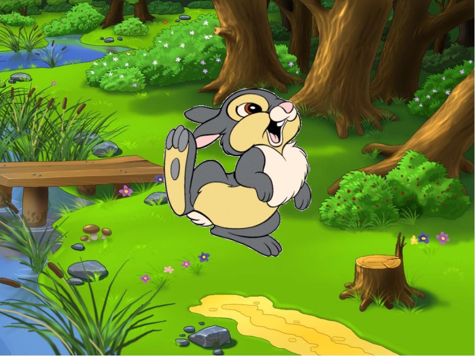 Жил был серенький зайчик, который бегал целыми днями по волшебному лесу, где...