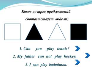 1. Can you play tennis? 2. My father can not play hockey. 3. I can play badm