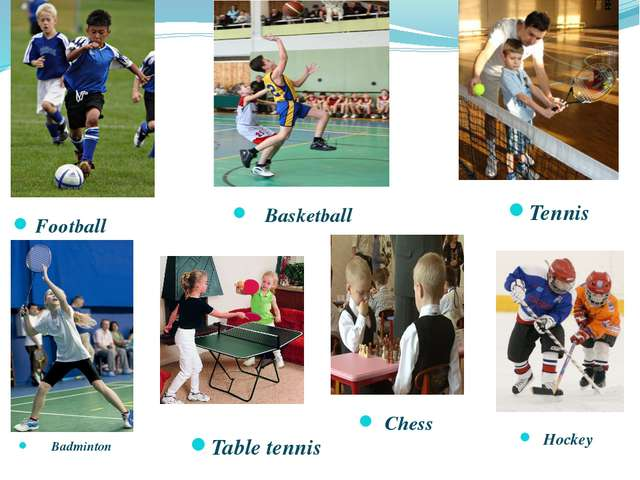 Football Basketball Hockey Chess Badminton Table tennis Tennis