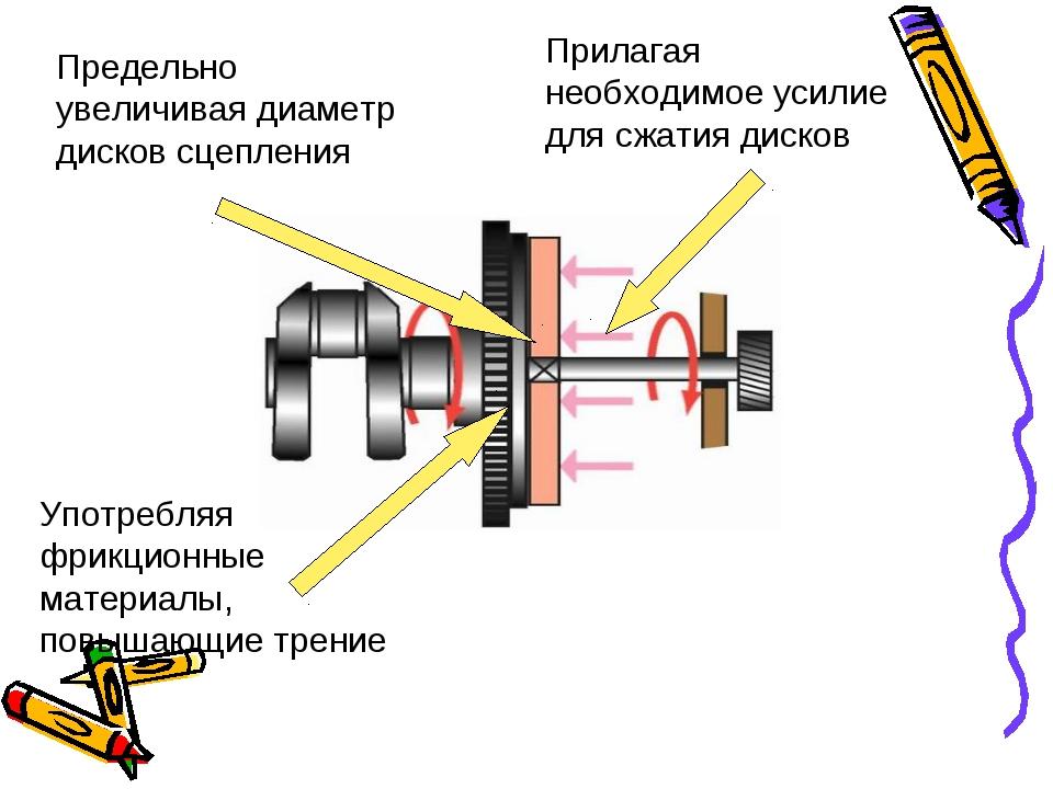 Предельно увеличивая диаметр дисков сцепления Употребляя фрикционные материал...