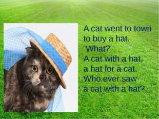 A cat went to town to buy a hat. What? A cat with a hat, a hat for a cat. Who