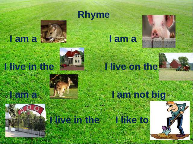 Rhyme I am a I am a I live in the I live on the I am a I am not big I live in...