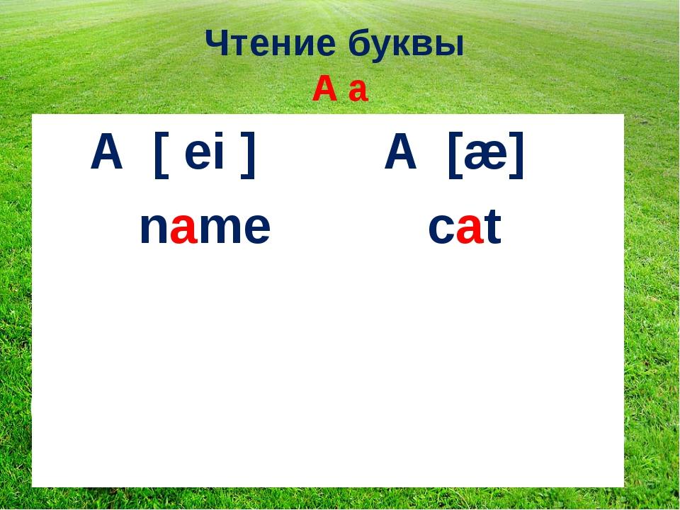 Чтение буквы A a I A [ ei ] A [æ] name cat