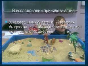В исследовании приняло участие: 58 человек, из них 29 детей и 29 взрослых. Мы