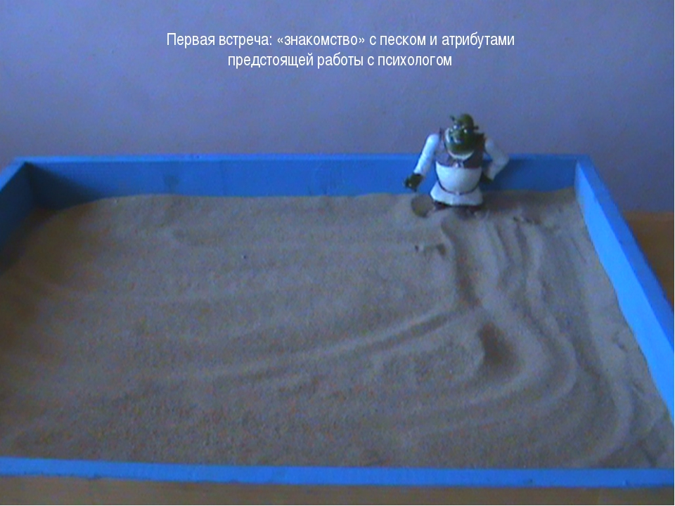 Первая встреча: «знакомство» с песком и атрибутами предстоящей работы с психо...