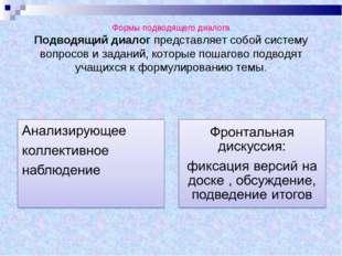Формы подводящего диалога Подводящий диалог представляет собой систему вопро