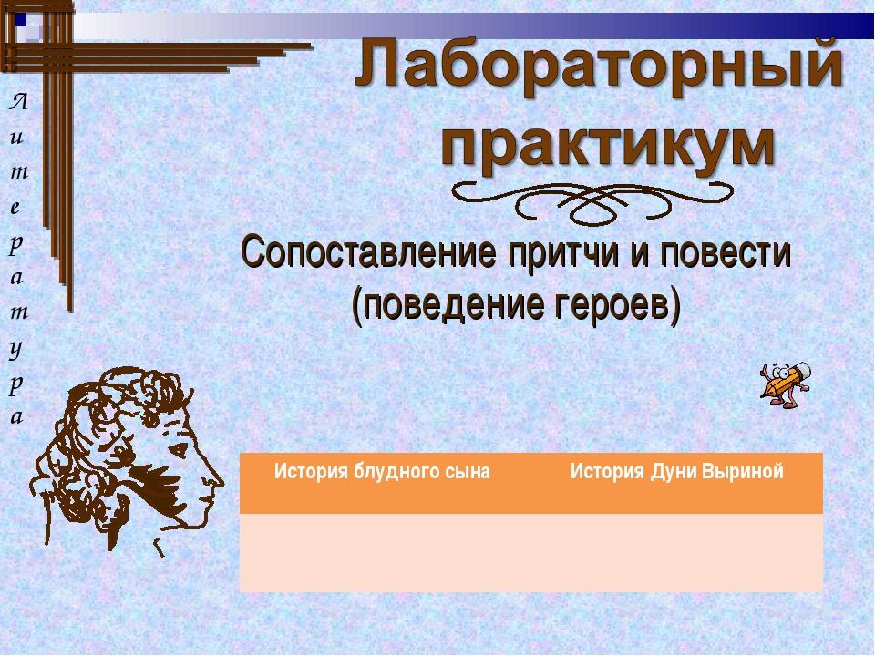 Сопоставление притчи и повести (поведение героев) Л итература История блудног...