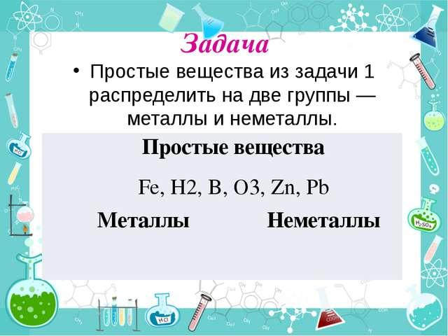Задача Простые вещества из задачи 1 распределить на две группы — металлы и не...