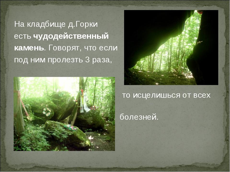 На кладбище д.Горки есть чудодейственный камень. Говорят, что если под ним пр...