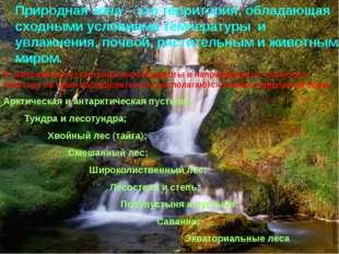 Природная зона – это территория, обладающая сходными условиями температуры и
