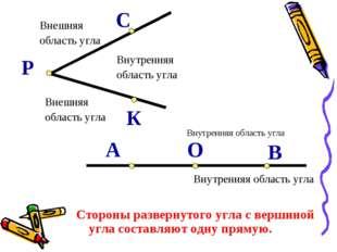 Внутренняя область угла Внешняя область угла Внешняя область угла В О А Р К