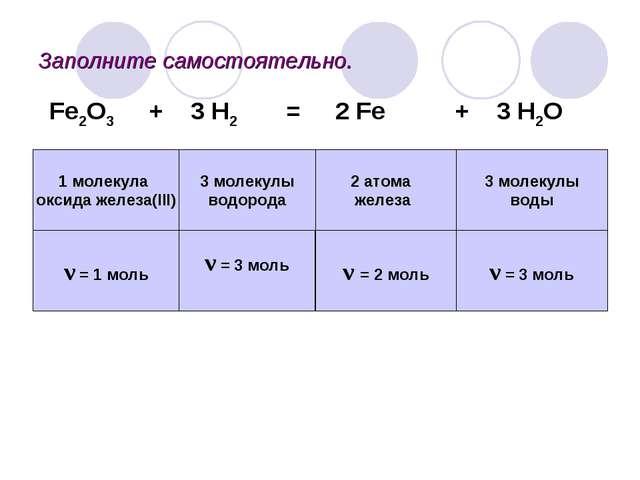Заполните самостоятельно. 2 атома железа 3 молекулы водорода 1 молекула оксид...