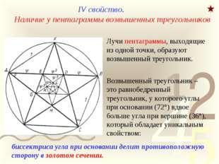 IV свойство. Наличие у пентаграммы возвышенных треугольников Лучи пентаграммы