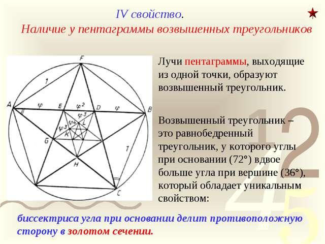 IV свойство. Наличие у пентаграммы возвышенных треугольников Лучи пентаграммы...