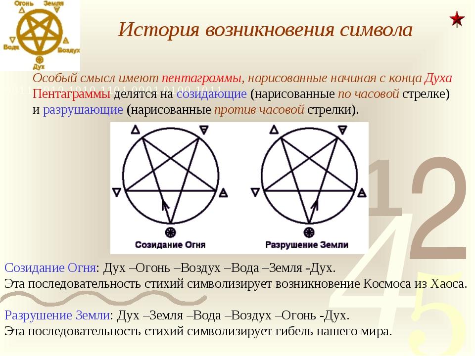 История возникновения символа Особый смысл имеют пентаграммы, нарисованные н...