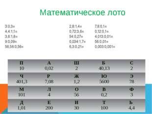 Математическое лото 3:0,3= 2,8:1,4=7,8:0,1= 4,4:1,1=0,72:3,6=0,12:0,1