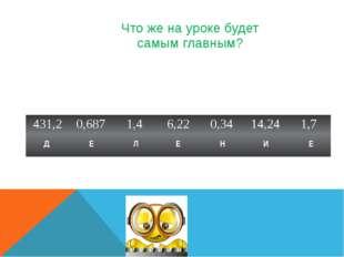 Что же на уроке будет самым главным? Д Е Л Е Н И Е 431,2 0,687 1,4 6,22 0,34