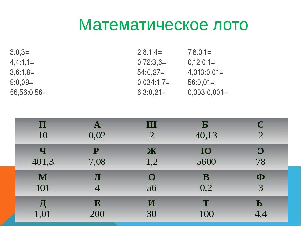 Математическое лото 3:0,3= 2,8:1,4=7,8:0,1= 4,4:1,1=0,72:3,6=0,12:0,1...