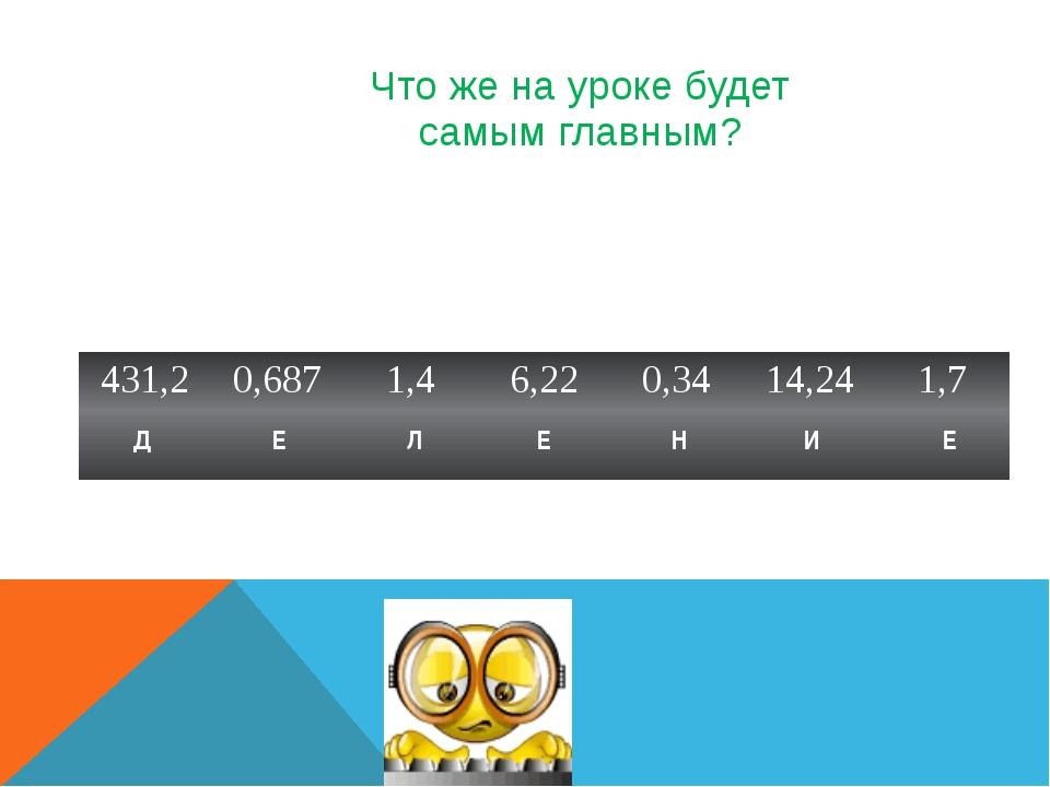 Что же на уроке будет самым главным? Д Е Л Е Н И Е 431,2 0,687 1,4 6,22 0,34...