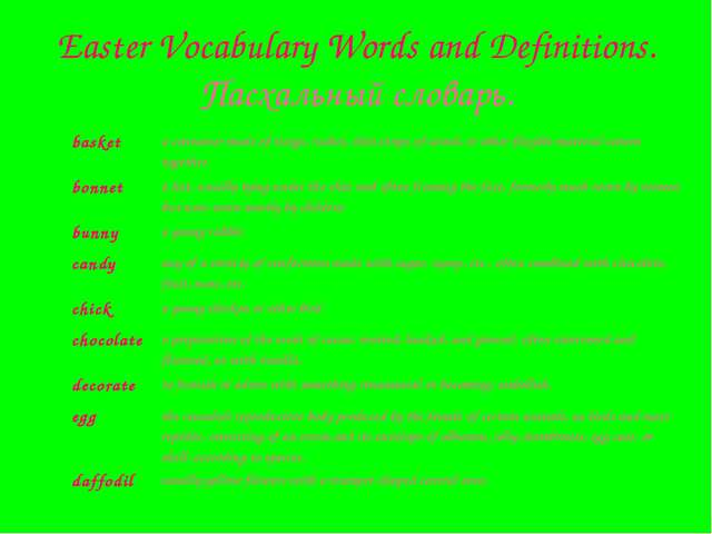 Easter Vocabulary Words and Definitions. Пасхальный словарь. basket	a contain...