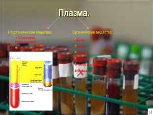 Плазма. Неорганические вещества: Органические вещества: Белки Жиры Углеводы Г