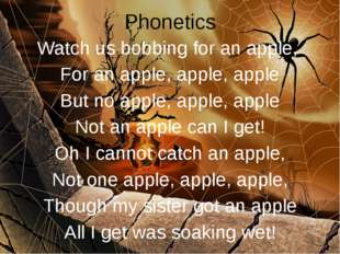 Phonetics Watch us bobbing for an apple, For an apple, apple, apple But no ap
