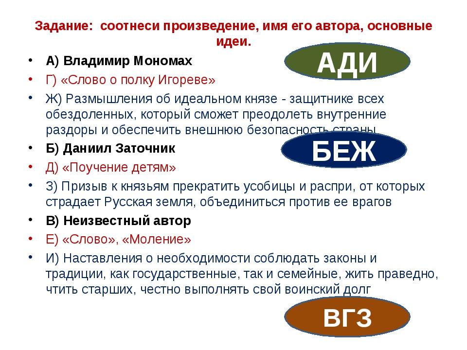 Задание: соотнеси произведение, имя его автора, основные идеи. А) Владимир М...