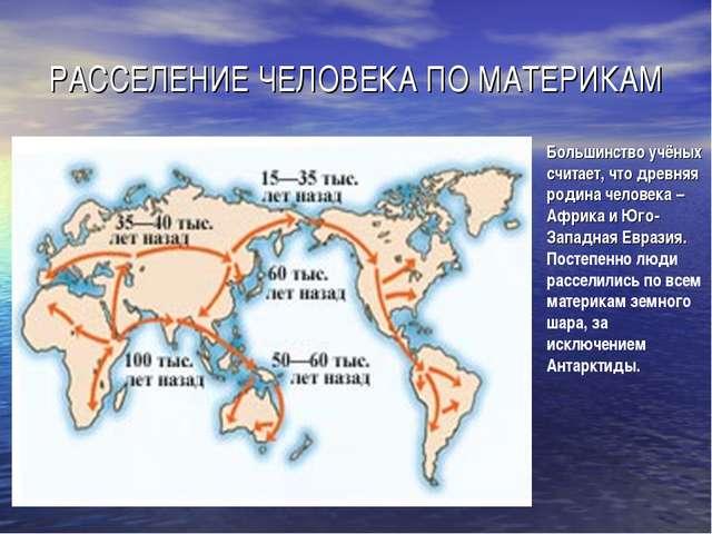 РАССЕЛЕНИЕ ЧЕЛОВЕКА ПО МАТЕРИКАМ Большинство учёных считает, что древняя роди...