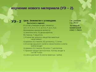 изучение нового материала (УЭ – 2). УЭ - 2 Цель: Знакомство с углеводами. Вы