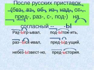 После русских приставок (без-, вз-, об-, из-, над-, от-, пред-, раз-, с-, под