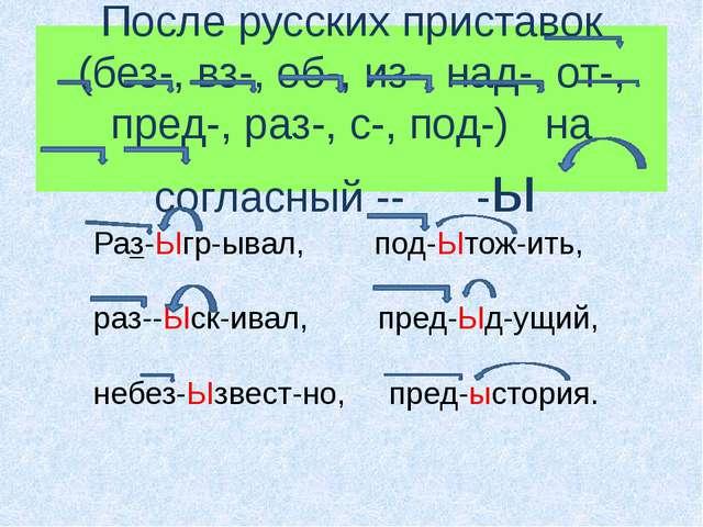 После русских приставок (без-, вз-, об-, из-, над-, от-, пред-, раз-, с-, под...