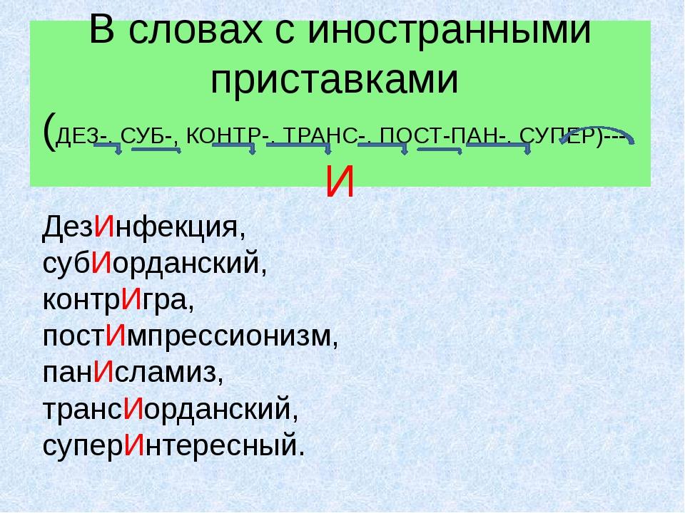 В словах с иностранными приставками (ДЕЗ-, СУБ-, КОНТР-, ТРАНС-, ПОСТ-ПАН-, С...