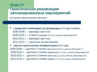 Этап IV Практическая реализация запланированных мероприятий а) Анализ резуль