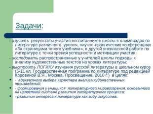 Задачи: - изучить результаты участия воспитанников школы в олимпиадах по лите