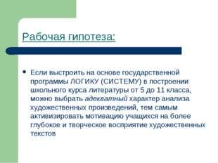 Рабочая гипотеза: Если выстроить на основе государственной программы ЛОГИКУ (