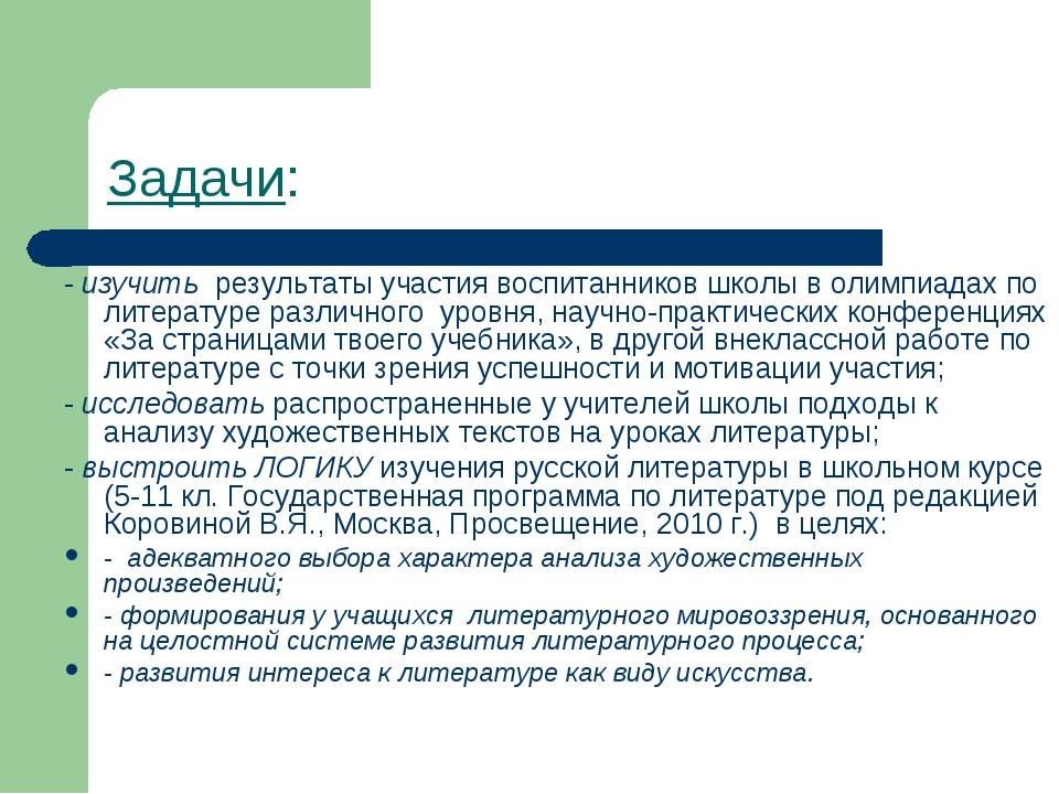 Задачи: - изучить результаты участия воспитанников школы в олимпиадах по лите...
