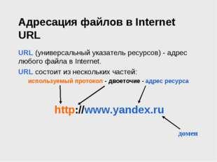 Адресация файлов в Internet URL URL (универсальный указатель ресурсов) - адре