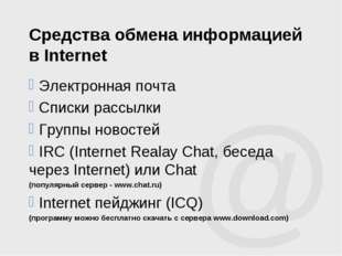 Средства обмена информацией в Internet Электронная почта Списки рассылки Груп