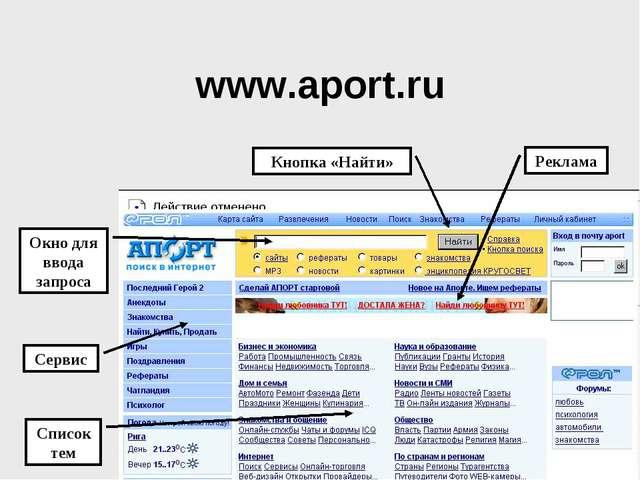 www.aport.ru Список тем Окно для ввода запроса Сервис Реклама Кнопка «Найти»
