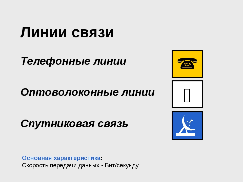 Линии связи Телефонные линии Оптоволоконные линии Спутниковая связь   Основ...