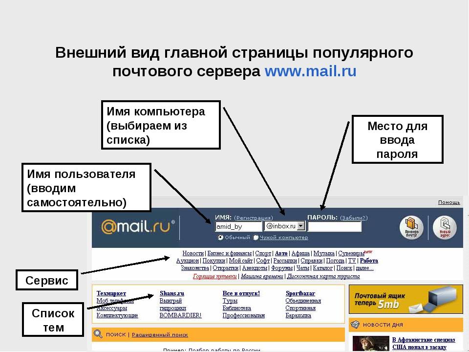 Внешний вид главной страницы популярного почтового сервера www.mail.ru Имя по...