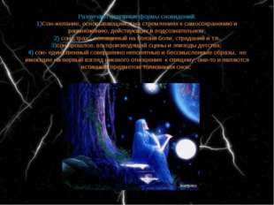 Различают основные формы сновидений: 1)Сон-желание, основывающийся на стремле