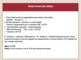 Энергетический обмен 1. Подготовительный (в пищеварительном канале, лизосомах