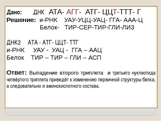 Дано: ДНК АТА- АГГ- АТГ- ЦЦТ-ТТТ- Г Решение: и-РНК УАУ-УЦЦ-УАЦ- ГГА- ААА-Ц Бе...