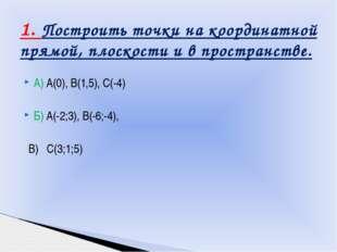 А) А(0), В(1,5), С(-4) Б) А(-2;3), В(-6;-4), В) С(3;1;5) 1. Построить точки н