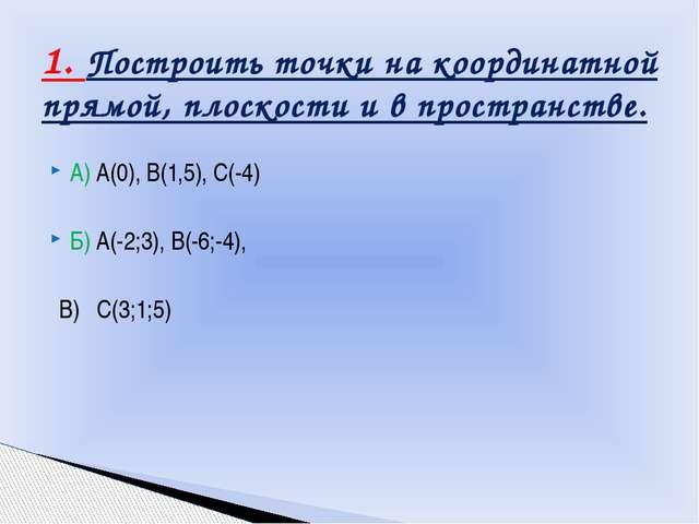 А) А(0), В(1,5), С(-4) Б) А(-2;3), В(-6;-4), В) С(3;1;5) 1. Построить точки н...