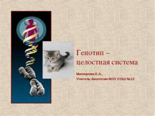 Генотип – целостная система Мисюрева Е.А., Учитель биологии МОУ СОШ №12